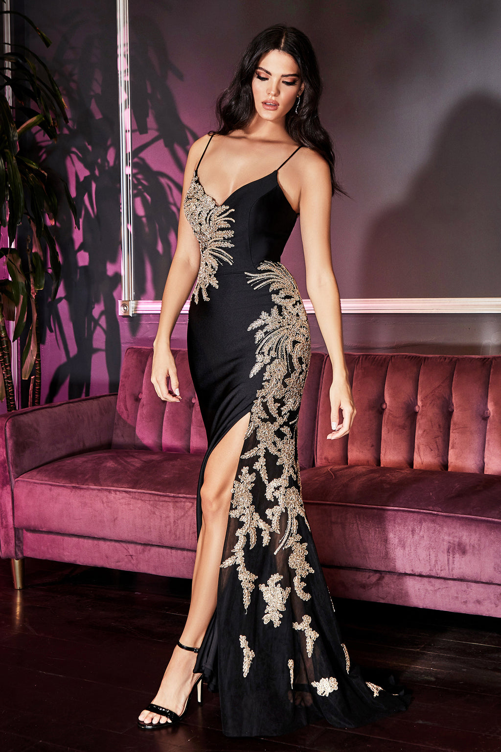 Elegant Long Gown with Gold Accents and Sexy Leg Slit #CDCM311