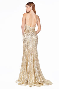 Gold Sequin Gown Style #LACR844 | Prom 2020