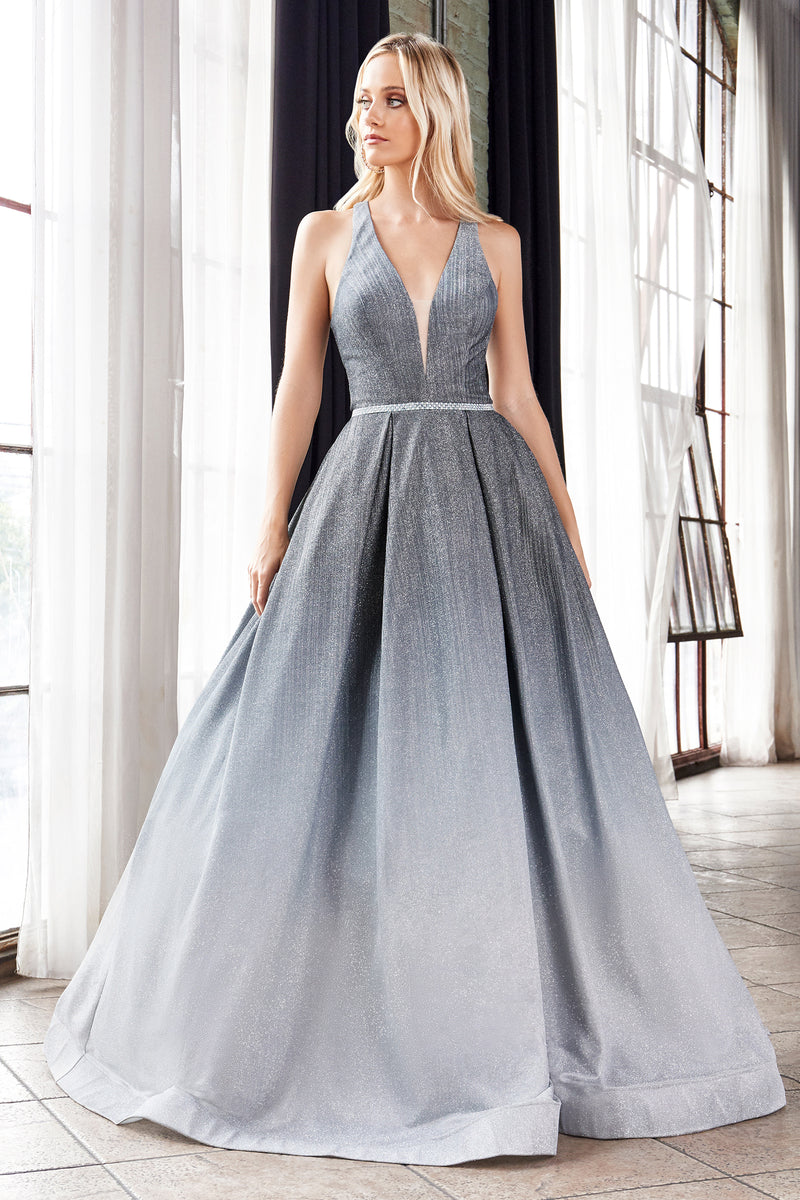 Metallic Shimmering Ball Gown With Austrian Crystal Belt Style #J8737 | Prom 2020