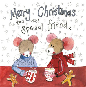 Special Friend Mice Christmas Card