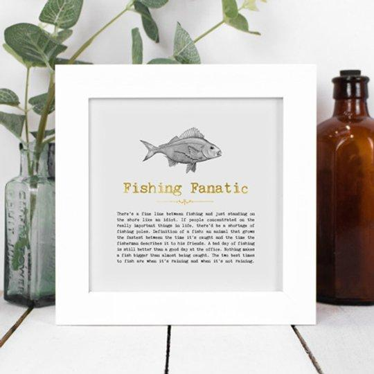 Fishing Fanatic Framed Vintage Words