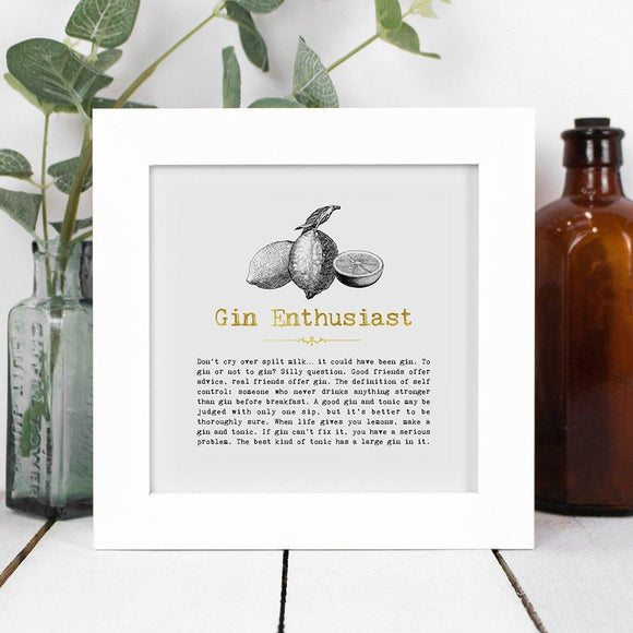 Gin Enthusiast Framed Vintage Word