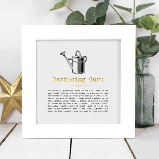 Gardening Guru Framed Vintage Words