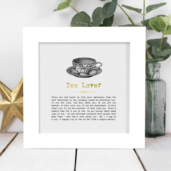 Tea Lover Framed Vintage Words