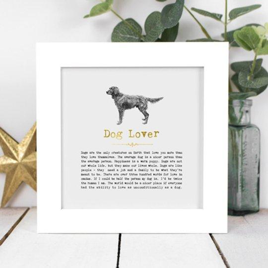 Dog Lover Framed Vintage Word