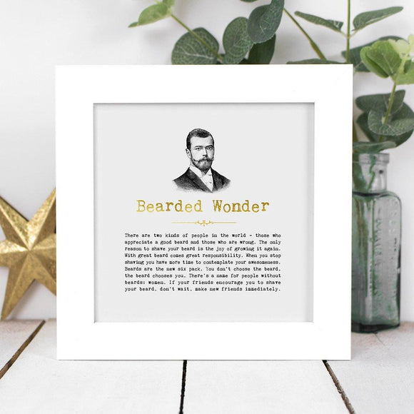 Bearded Wonder Framed Vintage Words
