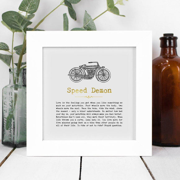 Speed Demon Framed Vintage Words