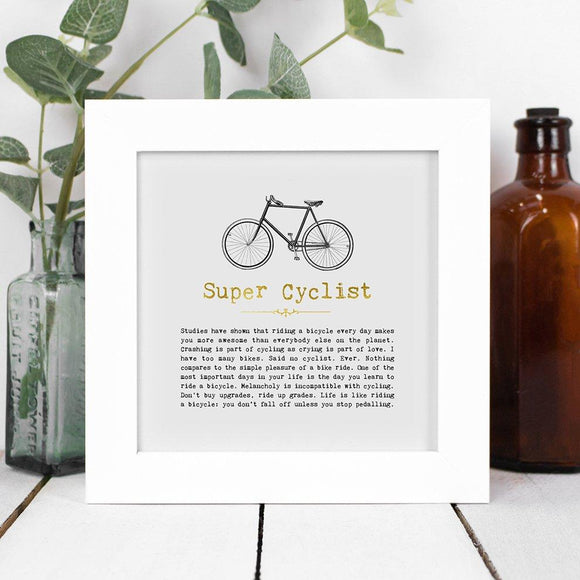 Super Cyclist Framed Vintage Word