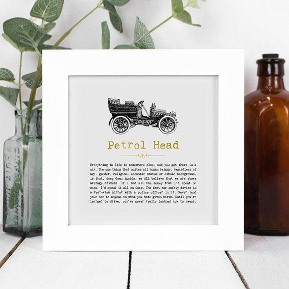 Petrol Head Framed Vintage Word