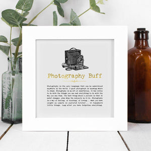 Photography Buff Framed Vintage Word