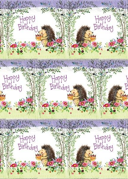 Birthday Hedgehog Gift Wrap