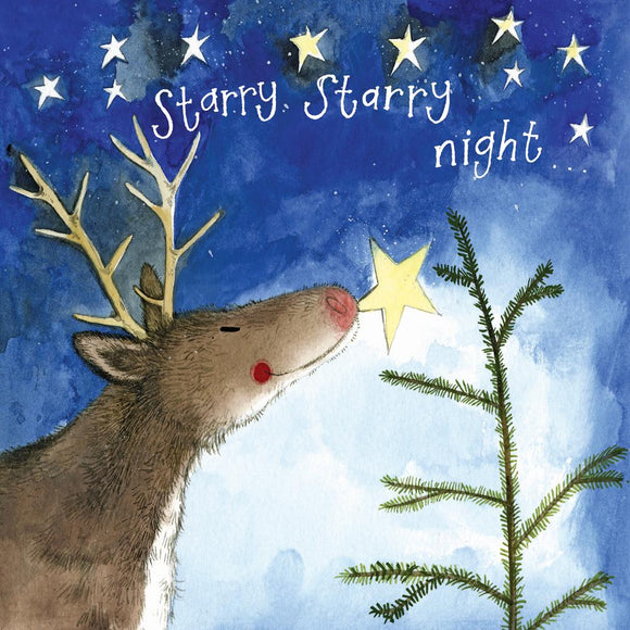 Starry Night Deer Christmas Card