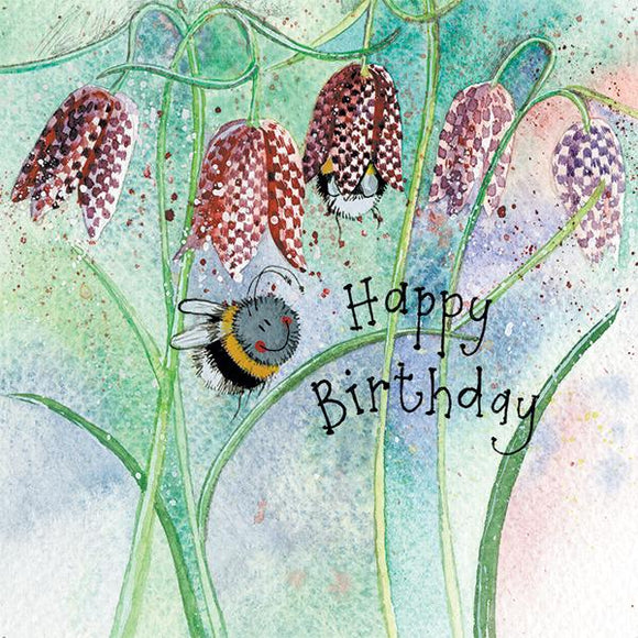 Bee & Fritillary Birthday Card