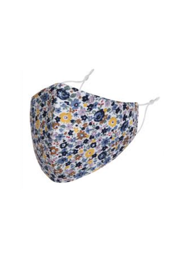 Blue & Yellow Floral Adult Fabric Face Covering
