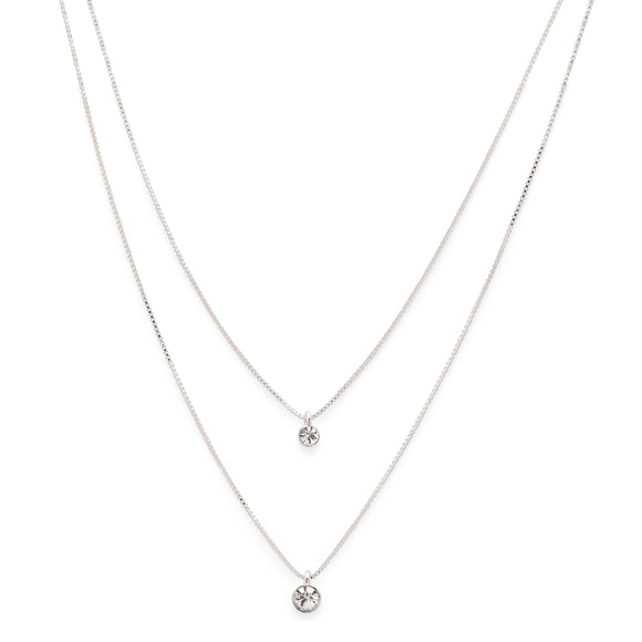 Lucia Silver Crystal Necklace