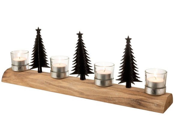 Long Wood Black Tree T-Light Holder