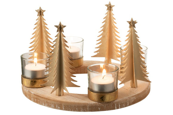 Round Wood Gold Tree T-Light Holder