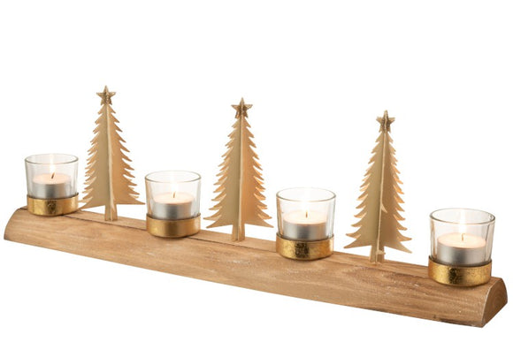 Long Wood Gold Tree T-Light Holder