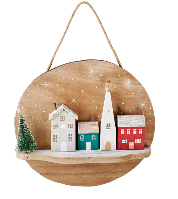 Christmas Village Hanging Plaque