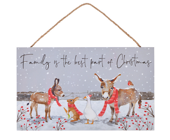 Donkey Family Christmas Hanging Plaque