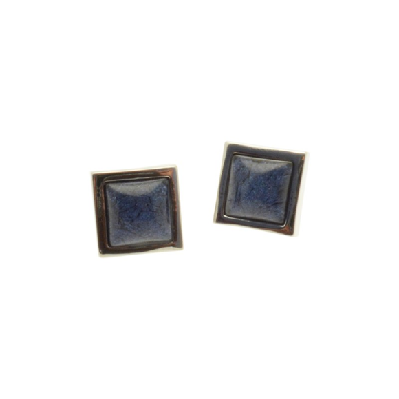 Navy Square Resin Stud Earrings