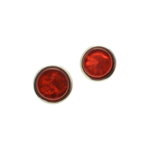 Red Resin Disc Stud Earrings
