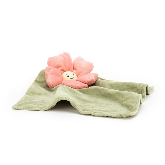 Green fleury petunia soother blanket from Jellycat with attached cuddly pink petunia.