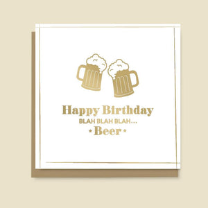 Blah Blah Beer Birthday Card