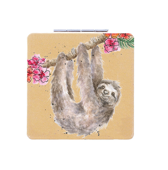 Hanging Around Sloth Compact Mirror