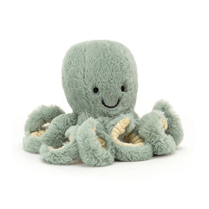 Jellycat Odyssey Octopus Tiny in seafoam green with springy tentacles. The face has two sewn black eye and sewn mouth.