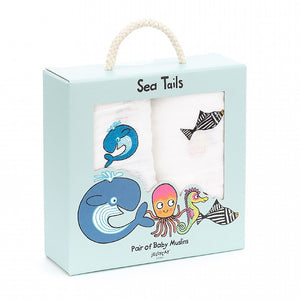 Sea Tails Pair Baby Muslins Boxed