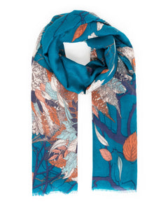 Powder Autumn Owl Print Scarf