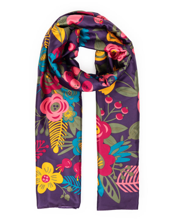 Floral Satin Print Scarf
