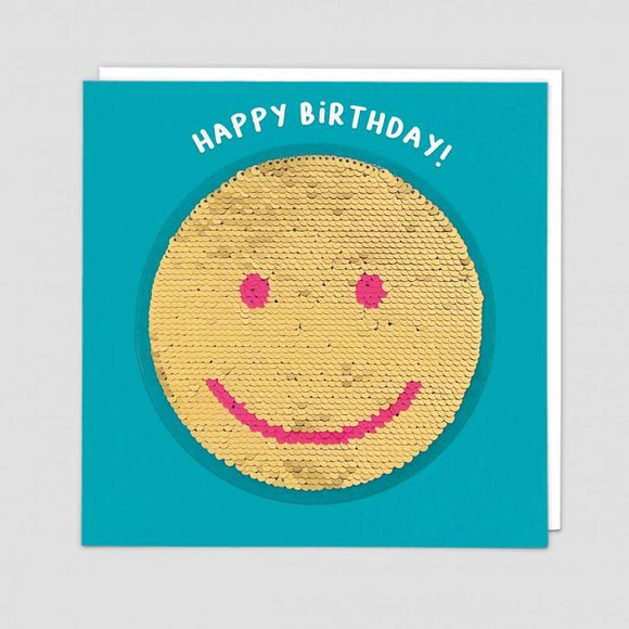 Smiley Reversible Sequin Card