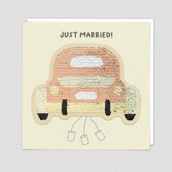 Wedding Car Reversible Sequin Card