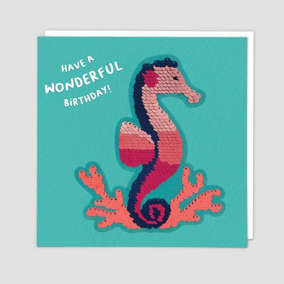Seahorse Reversible Sequin Card