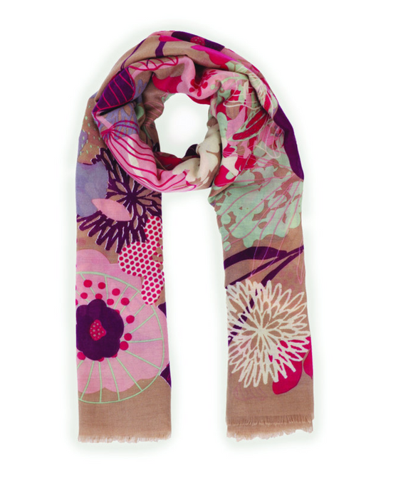 Stone Modern Floral Print Scarf
