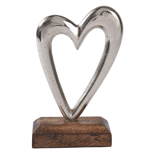 Small Silver Heart On Wooden Base