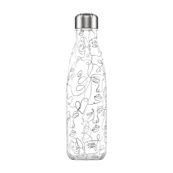 500ml Chilly's Bottle Line Art Faces