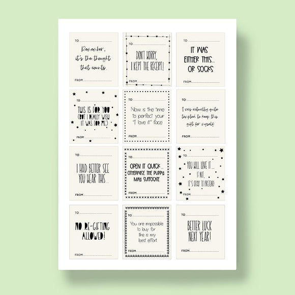 Black & White Wrapping Labels