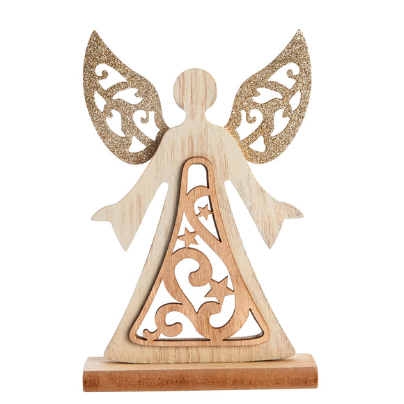 Wooden Glitter Standing Angel