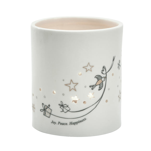 Ceramic Joy Peace Votive Holder