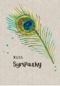 With Sympathy Peacock Feather Card