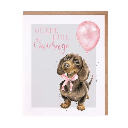 Wrendale Welcome Little Sausage New Baby Girl Card