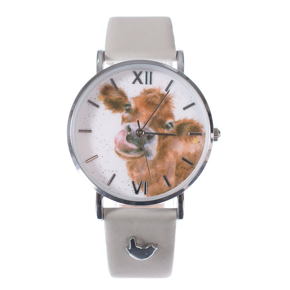'Moooo' Cow Watch Vegan Grey Leather Strap