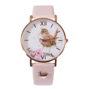 'Little Tweets' Wren Watch Vegan Pink Leather Strap