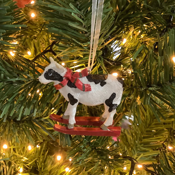 Cow on Skis Hanging Tree Decoration