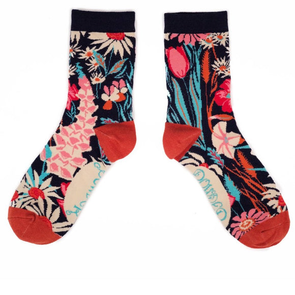 Ladies Ankle Socks Country Garden Navy by Powder