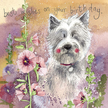 Westie in Hollyhocks Birthday Card