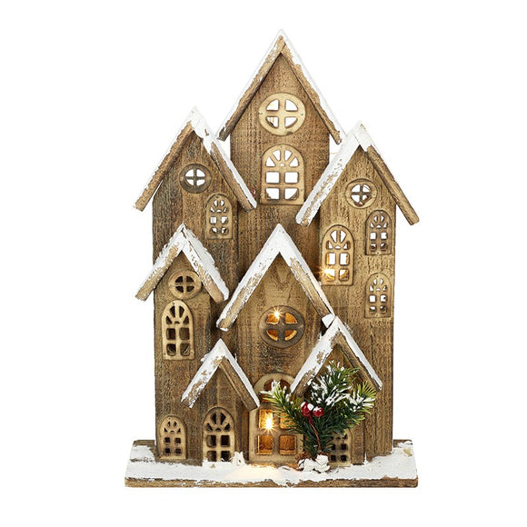 Large Wooden Light Up House